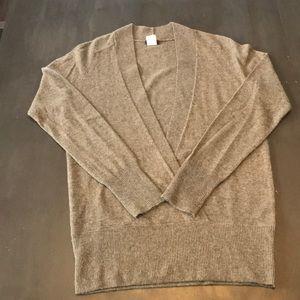 J.Crew deep vee sweater. Small, taupe.